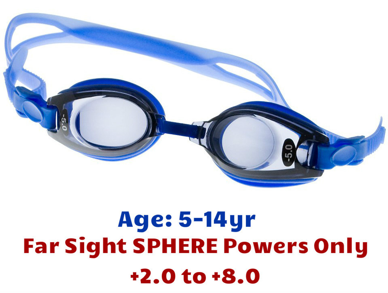 da1c688426 Kids Far Sight Prescription Swim Goggles Blue (Dark Grey Tinted Lenses)