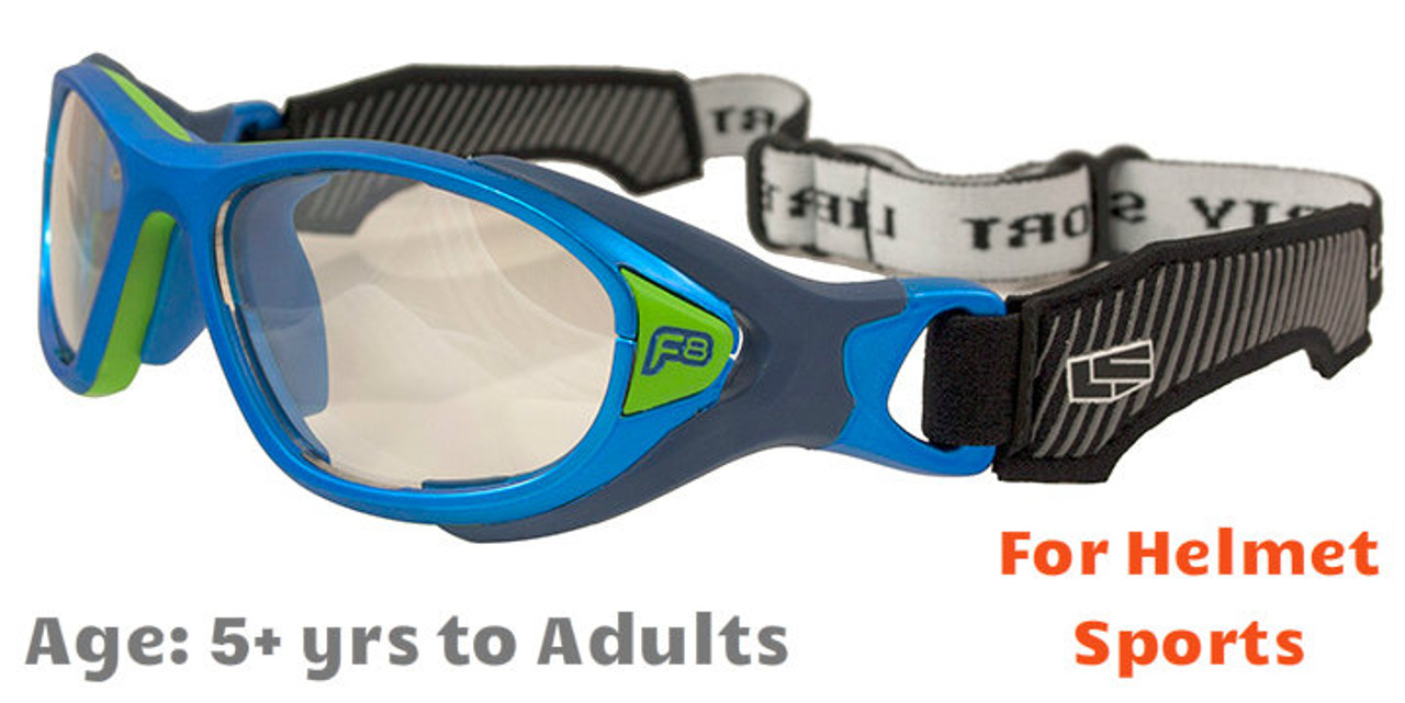 9d184d8e46  5+ yrs to Adults  Rec Specs F8 Helmet Spex  Matte Electric Blue - 49   53  Sizes  (Prescription Lenses Available)
