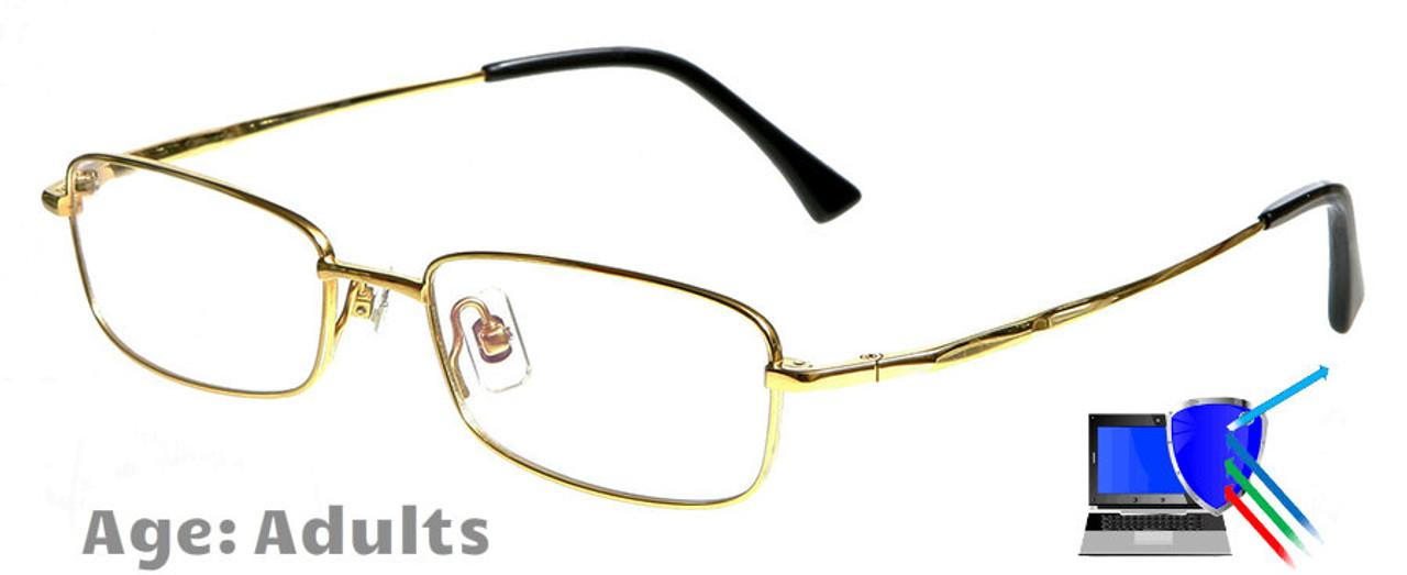 833bd911ef Dallas - Gold Prescription Glasses Blue Block Lenses Available ...
