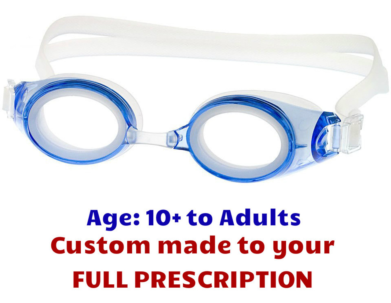 a8d94443bbd Adult Prescription Swim Goggles M2P Blue with Custom Made Lenses ...