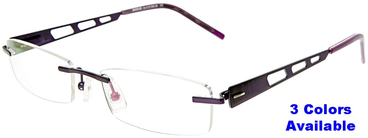 315cc0614797 [Adults] Zolo (Purple, Red or Pink)- Rimless Prescription Glasses (Blue  Light Control Lenses Available)