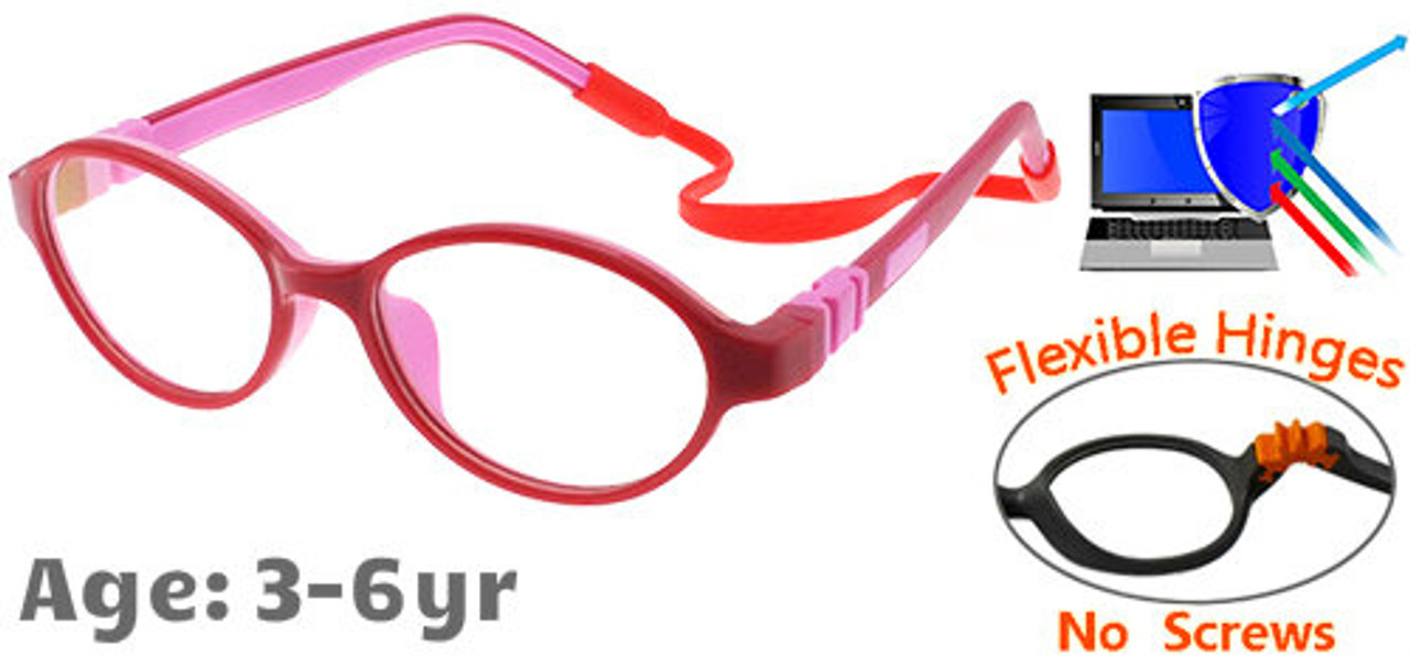 cfe6c6ec8cf4 [3-6 yrs] Kids Glasses - Flexible C6003C04 Red/Pink 44 Size + Removable  Strap & Ear Hook