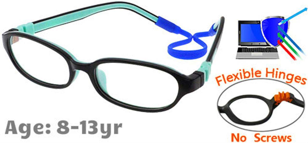 a3a71c190cbe [8-13 yrs] Kids Glasses - Flexible C6001C06 Black/Aqua 50 Size + Removable  Strap & Ear Hooks
