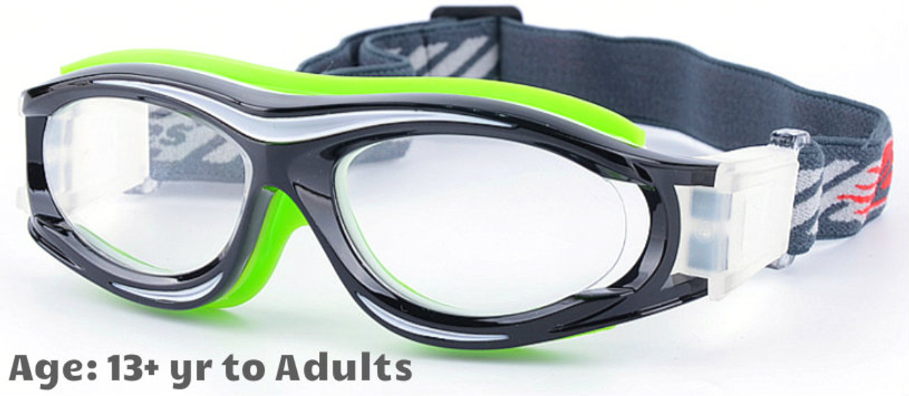 751cf54b1e  13+ yrs to Adults  Sports Goggles BL028 Black Green (Prescription Rx Lenses  Available)