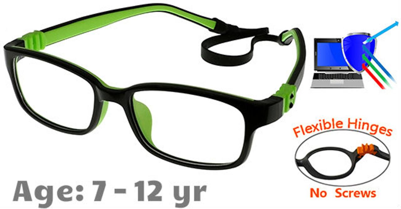 e32d16386b Kids Glasses G7009C13 Black Green  Fully Flexible Hinges with No Screws