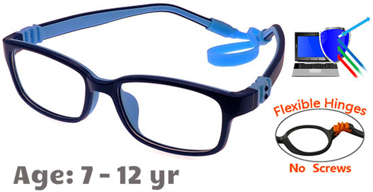 180910a2d97  7-12 yrs  Kids Glasses - Flexible G7009C30 Dark Blue Blue 47 Size +  Removable Strap   Ear Hooks
