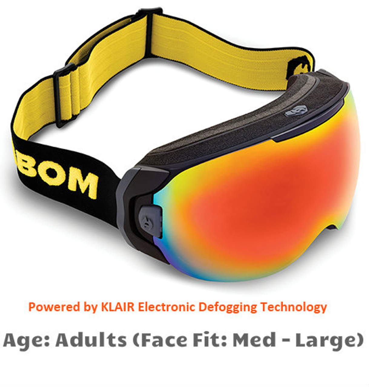 f6539296f9a0 Abom One Sunrise Red Mirror Snow Goggles - Adult Sized Medium to Large Face  Fit