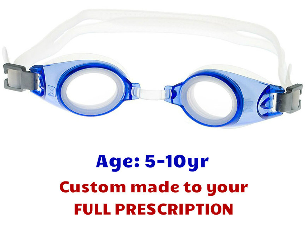 ff3859c56b PE8 Blue Kids Prescription Swim Goggles Shown with Standard Clear Lenses