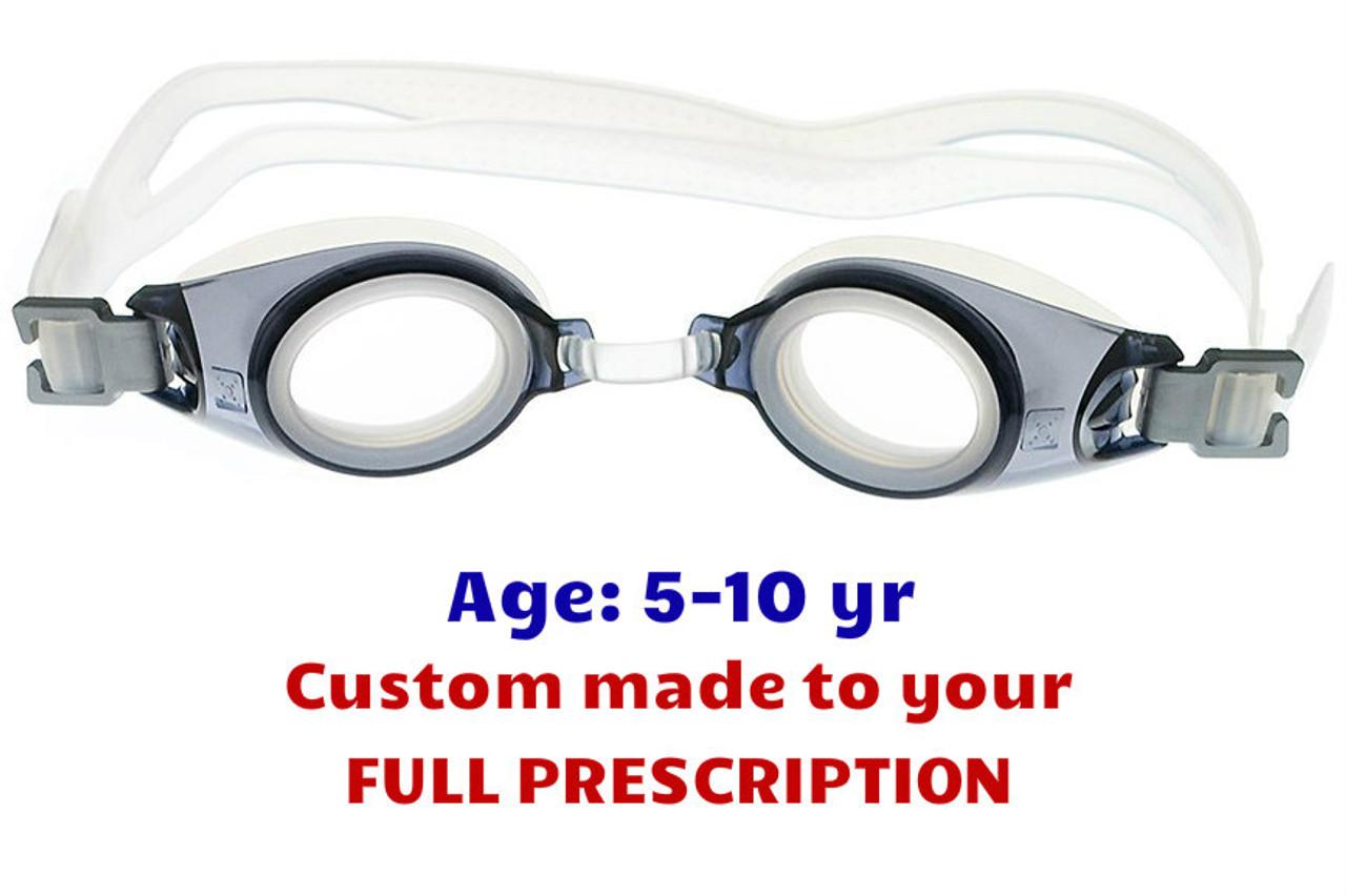 bb6d8b83d86 PE8 Grey Kids Prescription Swim Goggles Shown with Standard Clear Lenses