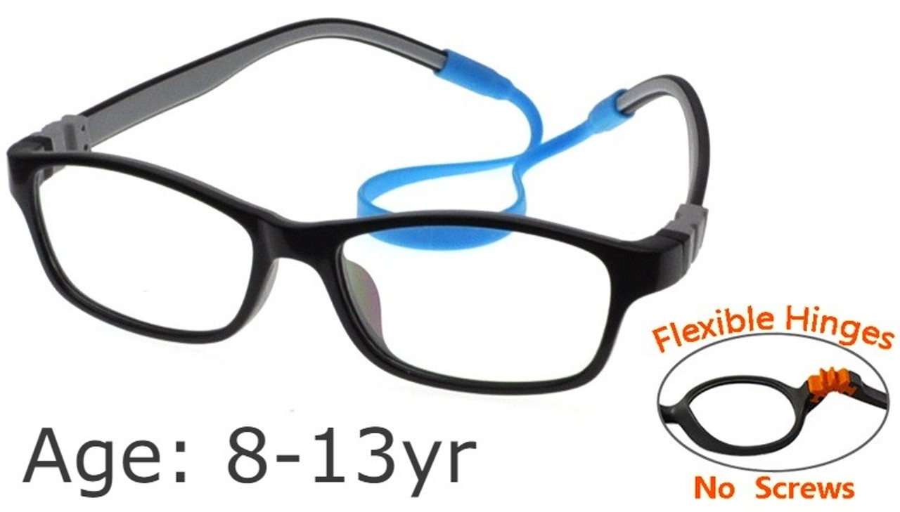 60b4a8155f  8-13 yrs  Kids Glasses - Flexible G21821C53 Black Grey 50 Size + Removable  Strap   Ear Hooks