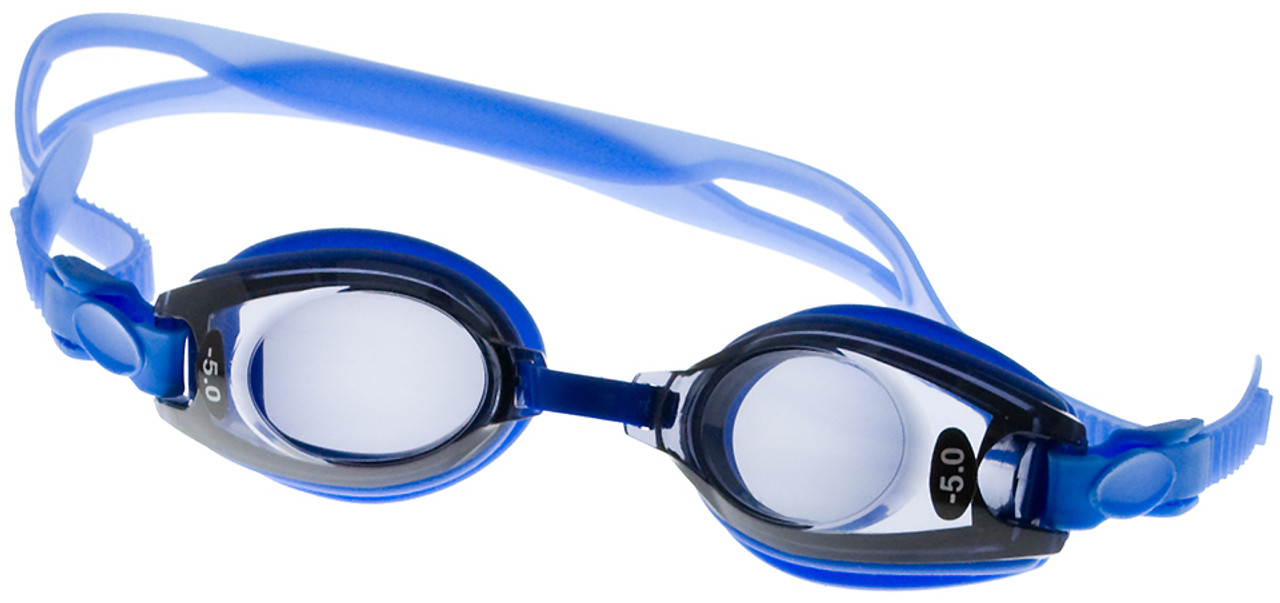 Kids Prescription Swim Goggles (Pre-made with Far Sight Powers - Dark Grey Tinted Lenses ) - Blue