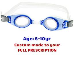f568335936 PE8 Blue Kids Prescription Swim Goggles Shown with Standard Clear Lenses