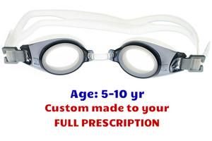 d51e3e8960 PE8 Grey Kids Prescription Swim Goggles Shown with Standard Clear Lenses