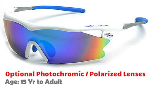 6d0d890750 F Morys MS038 Rx-Able Sports Sunglasses - White with Blue Mirrored Lenses