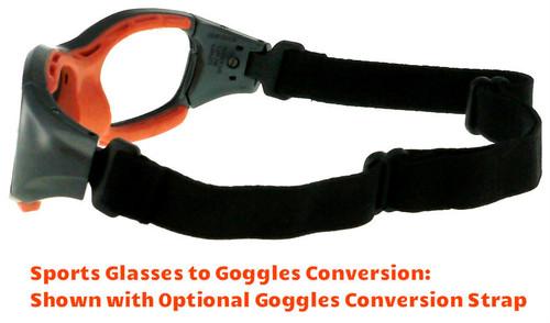 03fb9b74dea ... Rec Specs F8 Slam Prescription Sports Glasses Fitted with Optional  Goggles Conversion Strap (Shiny Gray ...