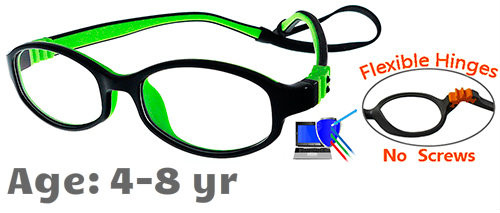 4ccd91c811 Kids Glasses Flexible G7002 (Black Green) Children Prescription Glasses