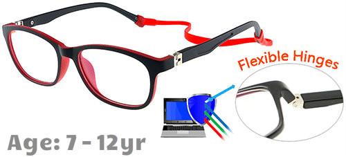 e1a10b8716367  7-12 yrs  Kids Glasses - Flexible TR5008C16 Black Red 49 Size + Removable  Strap   Ear Hook
