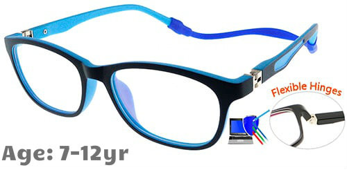 531a8be9a36a9  7-12 yrs  Kids Glasses - Flexible TR5008C06 Dark Blue 49 Size + Removable  Strap   Ear Hook
