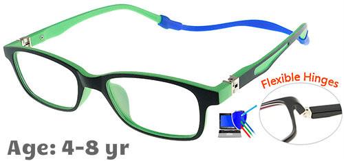 9e27580638  4-8 yrs  Kids Glasses - Flexible TR5011C03 Black Green 46 Size + Removable  Strap   Ear Hook