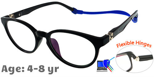6450ca0d6e  4-8 yrs  Kids Glasses - Flexible TR5012C01 Black 47 Size + Removable Strap    Ear Hook