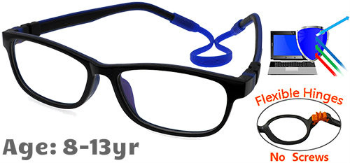 1e28a2e006c  8-13 yrs  Kids Glasses - Flexible C6011C01 Black Blue 52 Size + Removable  Strap   Ear Hooks