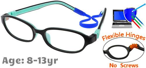 90a8ff5e014be  8-13 yrs  Kids Glasses - Flexible C6001C06 Black Aqua 50 Size + Removable  Strap   Ear Hooks