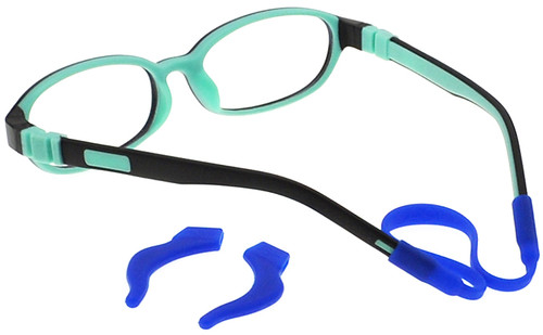 4e8f27b689a ... Kids Glasses C6001 Black Aqua with removable ear hooks and strap ...