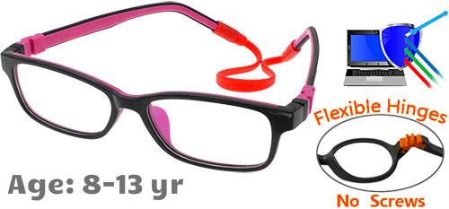 16a50e789be  8-13 yrs  Kids Glasses - Flexible C6002C02 Black Purple 50 Size +  Removable Strap   Ear Hooks