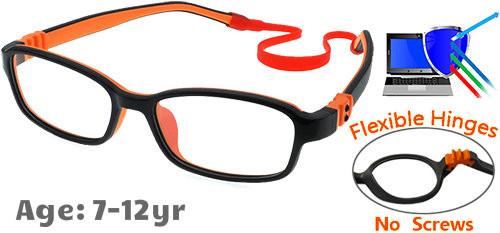 570476e6a9  7-12 yrs  Kids Glasses - Flexible G7007C9 Black Orange 49 Size + Removable  Strap   Ear Hooks