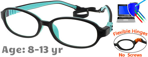 d586a5e56744f  8-13 yrs  Kids Glasses - Flexible G213C3 Black Aqua 50 Size + Removable  Strap   Ear Hooks