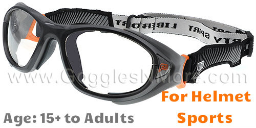 4b2e967dcd Rec Specs F8 Helmet Spex XL Prescription Sports Goggles in Gunmetal Orange