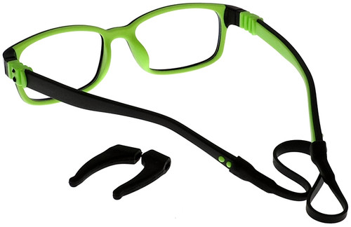 64c4d3d59a3 ... Kids Glasses with Flexible Hinges G7009C13 Black Green  Standard with  Removable Head Strap and ...