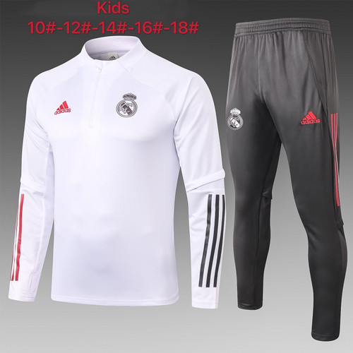 Real Madrid Kids  Half Zip Jacket and trouser tracksuit set White