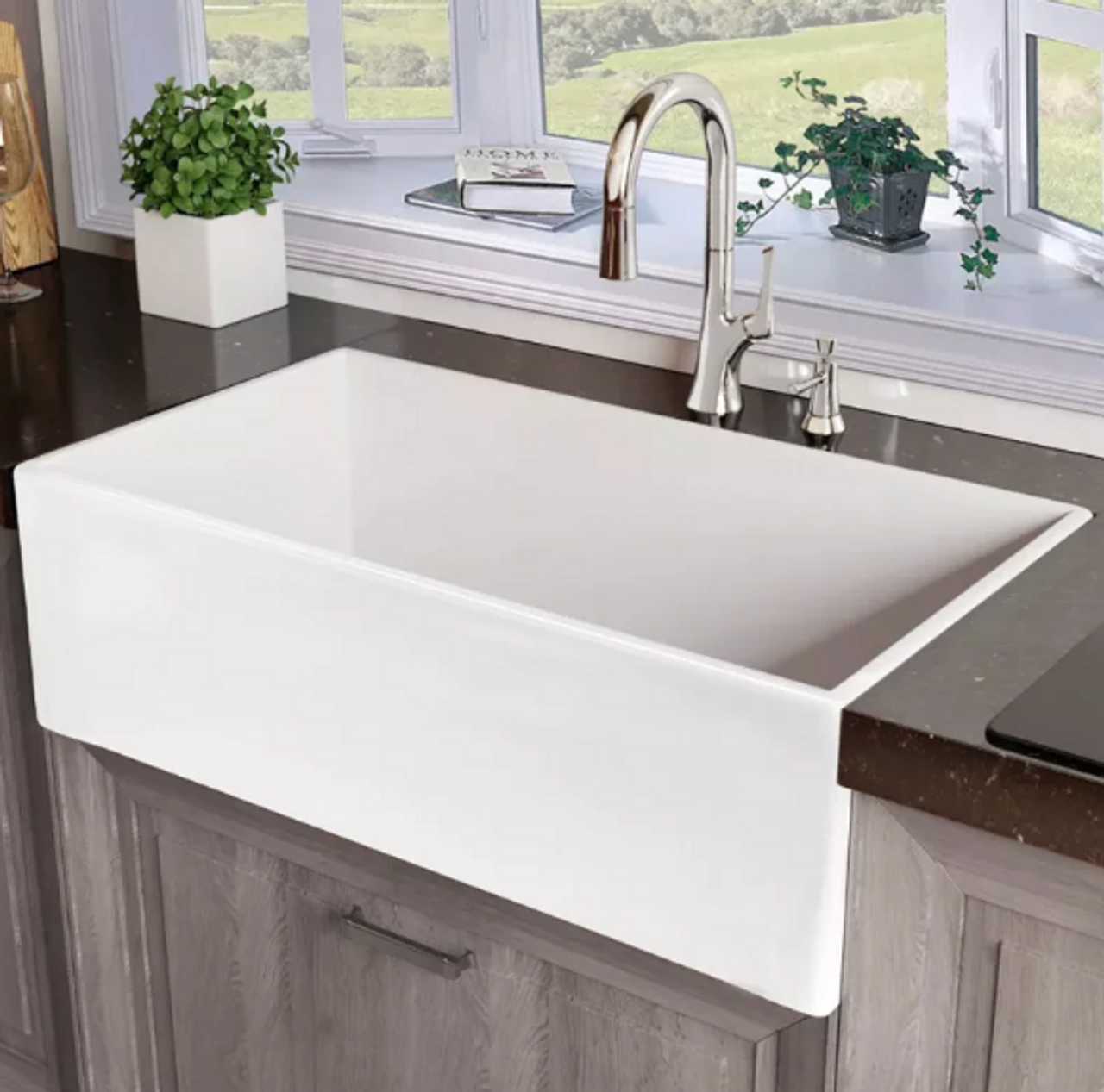 33 Single Bowl Farmhouse Fireclay Kitchen Sink Cabinet Now