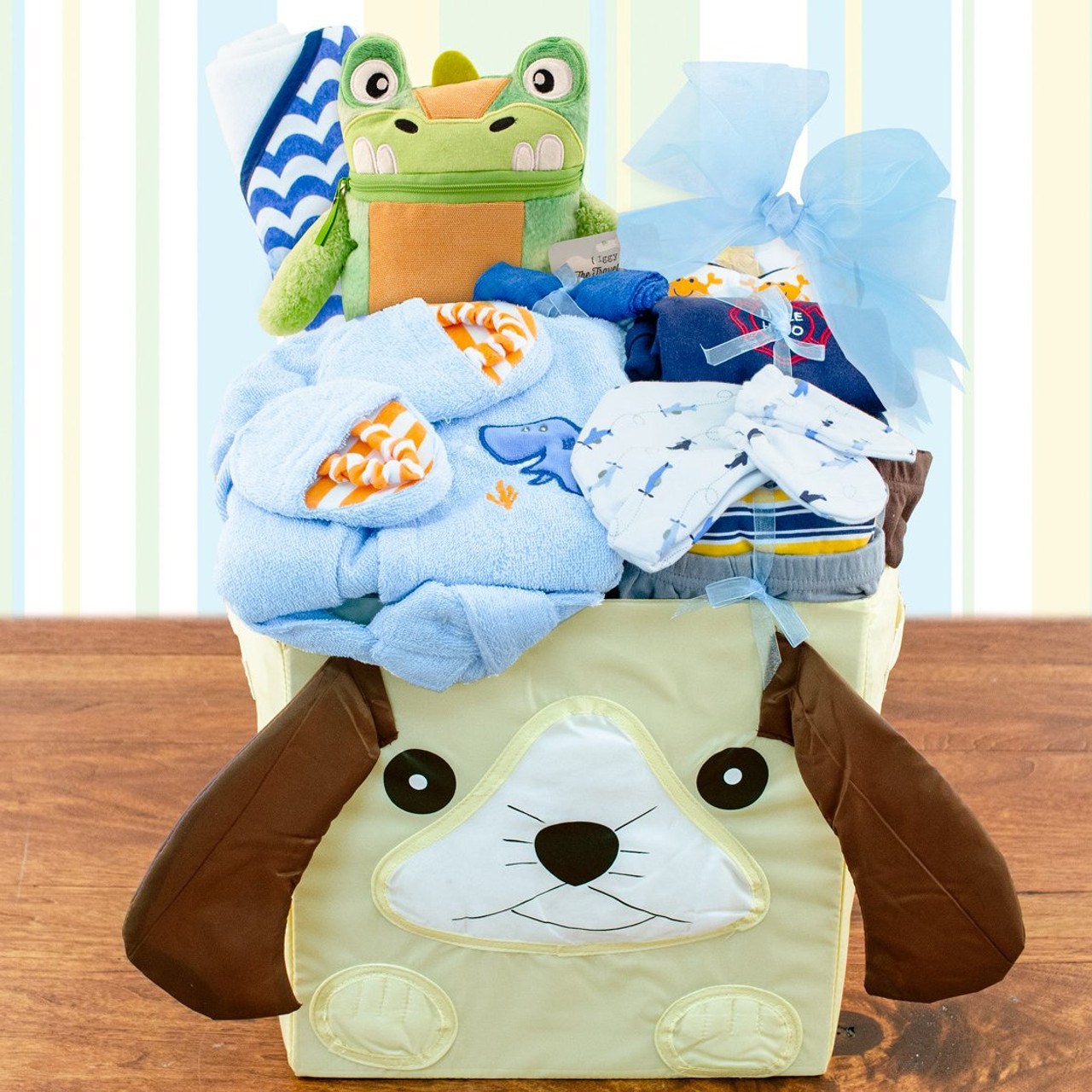 Image 0 of Best Wishes: Baby Boy Gift Basket