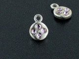 Round Sterling Silver Charm With Faceted Light Amethyst Austrian Crystal - Pkg Of 10 (Closeout)