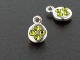 Round Sterling Silver Charm With Faceted Olivine Austrian Crystal - Pkg Of 10 (Closeout)