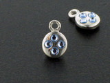 Round Sterling Silver Charm With Faceted Light Sapphire Austrian Crystal - Pkg Of 10 (Closeout)