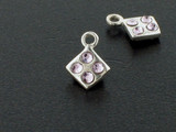 Diamond Sterling Silver Charm With Faceted Light Amethyst Austrian Crystal - Pkg Of 10 (Closeout)