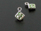 Diamond Sterling Silver Charm With Faceted Peridot Austrian Crystal - Pkg Of 10 (Closeout)