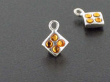 Diamond Sterling Silver Charm With Faceted Topaz Austrian Crystal - Pkg Of 10 (Closeout)