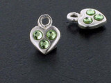 Heart Sterling Silver Charm With Faceted Peridot Austrian Crystal - Pkg Of 10 (Closeout)