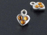 Heart Sterling Silver Charm With Faceted Topaz Austrian Crystal - Pkg Of 10 (Closeout)