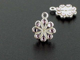 Flower Sterling Silver Charm With Faceted Light Amethyst Austrian Crystal - Pkg Of 4 (Closeout)