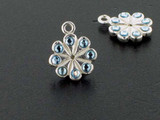 Flower Sterling Silver Charm With Faceted Aqua Austrian Crystal - Pkg Of 4 (Closeout)