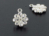 Flower Sterling Silver Charm With Faceted Austrian Crystal - Pkg Of 4 (Closeout)