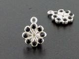 Flower Sterling Silver Charm With Faceted Jet Austrian Crystal - Pkg Of 4 (Closeout)