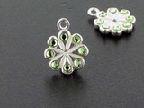 Flower Sterling Silver Charm With Faceted Peridot Austrian Crystal - Pkg Of 4 (Closeout)