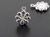 Flower Sterling Silver Charm With Faceted Tanzanite Austrian Crystal - Pkg Of 4 (Closeout)