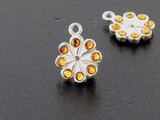 Flower Sterling Silver Charm With Faceted Topaz Austrian Crystal - Pkg Of 4 (Closeout)